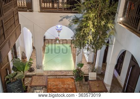 Marrakesh, Morocco - October 21, 2017: Detail From Riad  In Marrakesh, Morocco. Riad Have Authentic