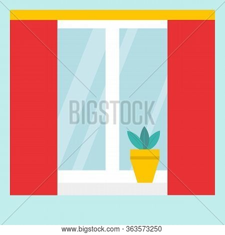 A Window With The Blinds Or Curtains. White Window Frames, Red Curtains Gathered With Yellow Decorat