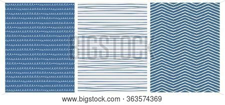 Set Of 3 Hand Drawn Irregular Geometric Patterns. White Chevron And Waves With Loops On A Navy Blue
