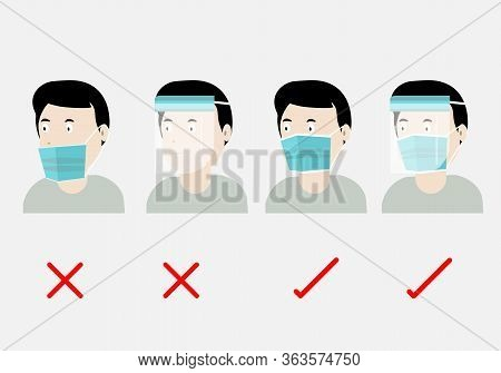 Concepts Of How To Wear Protective Mask And Faceshield Correctly. Illustration Of Man Wearing Protec