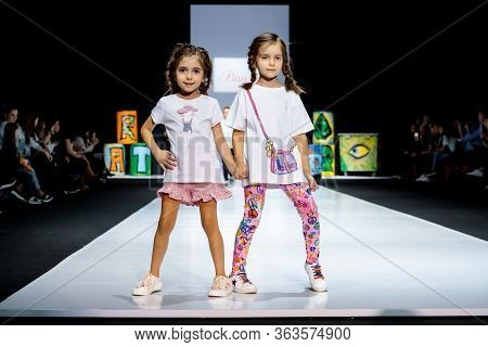 Moscow, Russia - March 21, 2019: Model Walk Runway For Winny Catwalk At Fall-winter 2019-2020 At Mos
