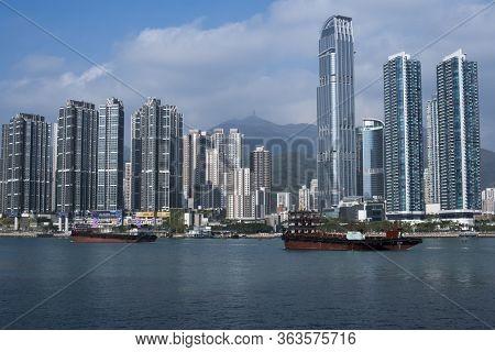 Hong Kong - December 25 2019 : Tsuen Wan City View From Tsing Yi Promenade