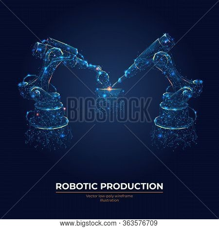 Robotic Arm And Robotic Machine Tool For Smart Technology Manufacturing Process In Dark Blue Backgro
