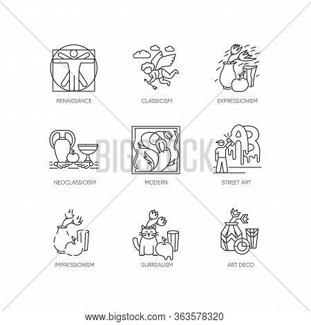 Art Movements Pixel Perfect Linear Icons Set. Artworks In Surrealism, Neoclassicism Styles. Customiz