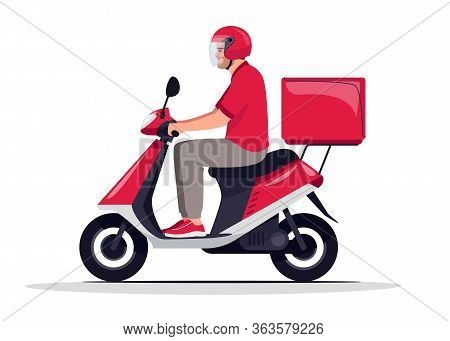 Urban Parcel Delivery Semi Flat Rgb Color Vector Illustration. Essential Service Worker With Package