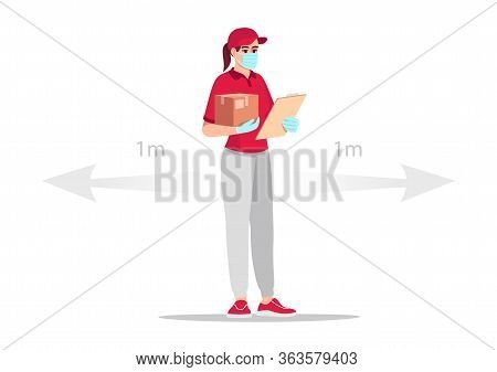 Quarantine Safe Delivery Semi Flat Rgb Color Vector Illustration. Caucasian Female Courier With Parc