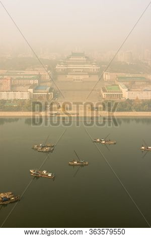 Pyongyang / Dpr Korea - November 10th 2015: Aerial View Of Kim Il-sung Square Across Taedong River I