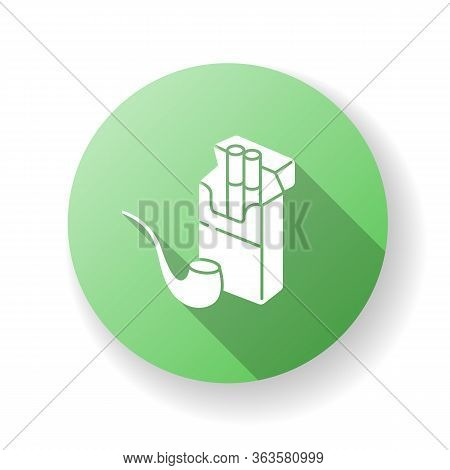 Tobacco Green Flat Design Long Shadow Glyph Icon. Cigarettes In Open Box Package. Pipe For Smoking.