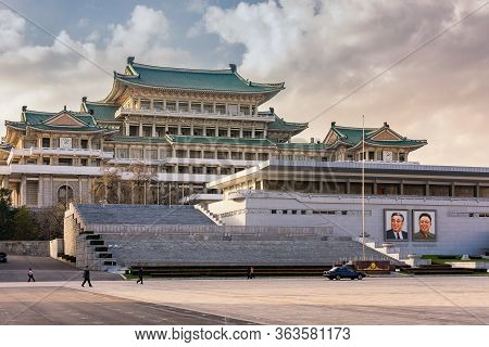 Pyongyang / Dpr Korea - November 12, 2015: The Grand People's Study House Situated On Kim Il-sung Sq