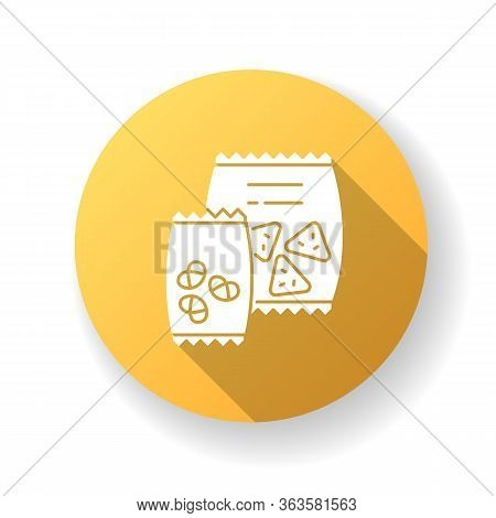 Snacks Yellow Flat Design Long Shadow Glyph Icon. Potato Chips In Bag. Salty Crackers In Packet. Unh