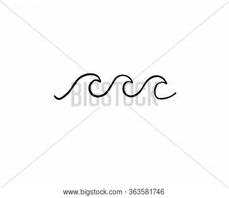 Vector Hand Drawn Doodle Sketch Sea Wave Isolated On White Background