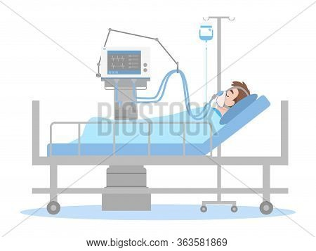 A Man Is Lying On A Bed In A Hospital Room, The Patient Connected To A Ventilator In A Flat Cartoon