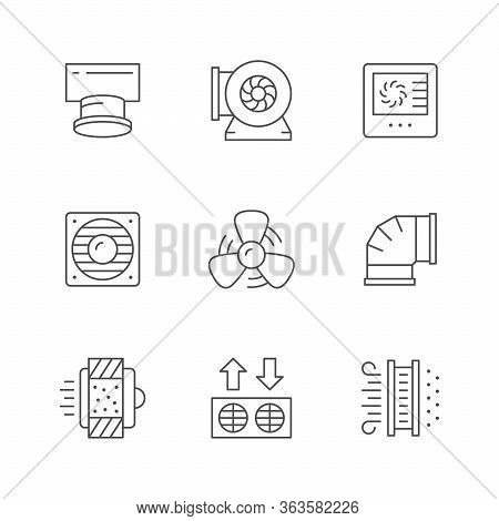 Set Line Icons Of Ventilation Isolated On White. Vent Pipe, Air Filtration, Electric Fan, Control, P