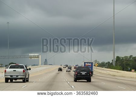 Us Route 10 Houston, Tx - September 29:  Driving Us Highway 10 With Rain Up Ahead  2013