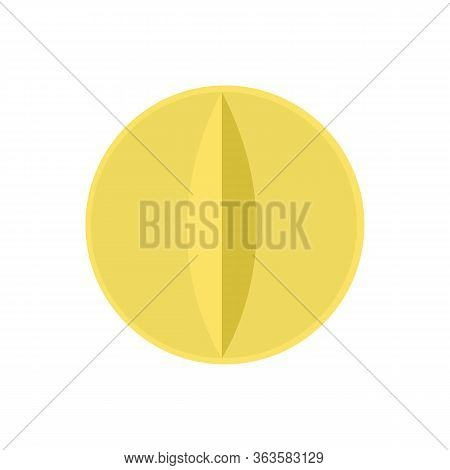 Yellow tablet. Pill on an isolated white background. Flat design website, logo. Health concept of pain medication pain treatment and pain supplement. Vector stock illustration.