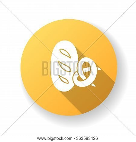 Bread And Bakery Yellow Flat Design Long Shadow Glyph Icon. Fresh Wheat Loaf. Pretzel With Crust. Bu