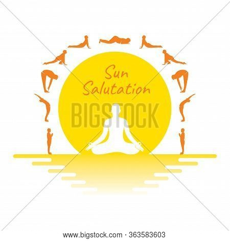 sun salutation doing vector  photo free trial  bigstock