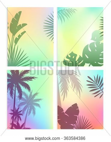 Background With Summer Leaves Vector Illustration Set. Cartoon Flat Silhouettes Of Green Coconut Pal