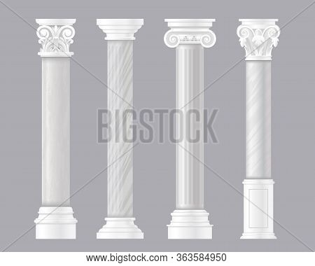 Ancient Pillars Vector Illustrations. Architectural Set Of Rome Or Greek Classic Marble Columns, Ant