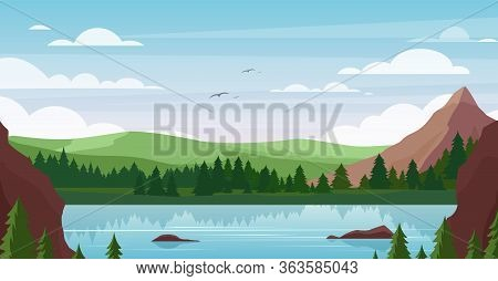 Mountain Lake Landscape Vector Illustration. Cartoon Flat Summer Nature, Picturesque Mountainous Sce