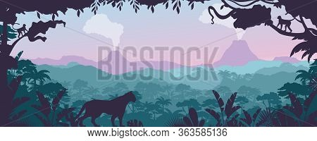 Tropical Jungle, Forest Landscape Vector Illustration. Cartoon Flat Nature Of Tropics, Panorama With