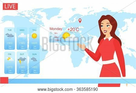 Tv Weather Forecast Report Vector Illustration. Cartoon Flat Attractive Weatherwoman Character Repor