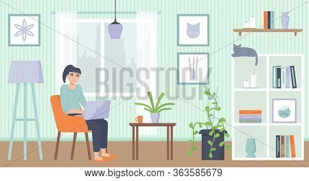 Yong Woman Sitting On Armchair With Laptop. Cozy Interior. Home Office, Working At Home, Freelance,