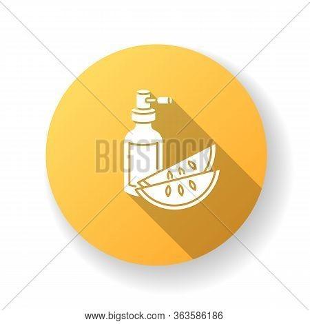 Kalahari Melon Seed Oil Yellow Flat Design Long Shadow Glyph Icon. Dermatology Product For Haircare.