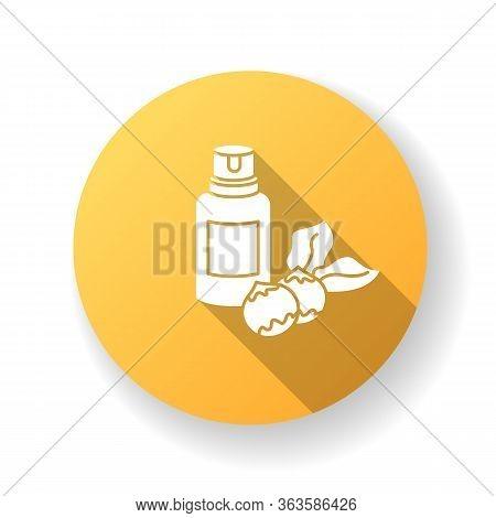 Macadamia Oil Yellow Flat Design Long Shadow Glyph Icon. Organic Vegan Essence For Haircare. Austral