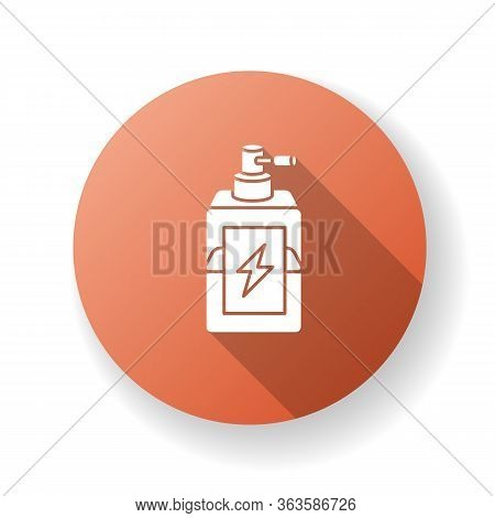 Antistatic Hair Sprayer Red Flat Design Long Shadow Glyph Icon. Liquid Product In Container For Wint