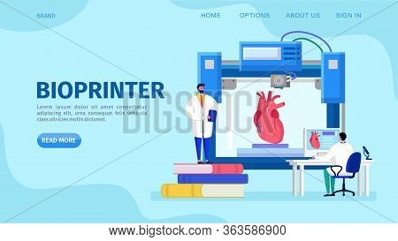 3d Bioprinter Human Organs, Vector Illustration. Artificial Heart Implant Replicated At Innovate Med