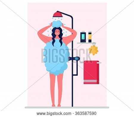 Hygienic Body Care, Character Woman Wash Organism Isolated On White, Flat Vector Illustration. Femal