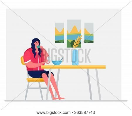Woman Character Eat Breakfast And Drink Tea, Coffee Isolated On White, Flat Vector Illustration. Fem