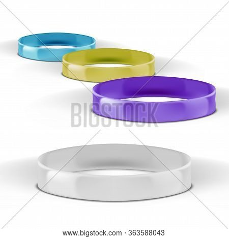 3d Various Color Four Glossy Silicone Wristbands