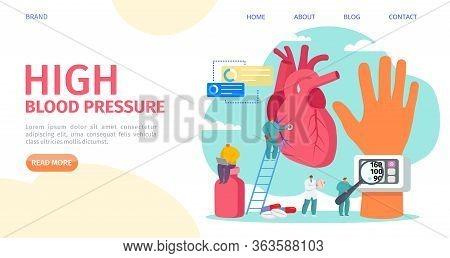 High Blood Pressure Measuring, Landing Vector Illustration. Cardiology Disease, Tonometer Medical Eq