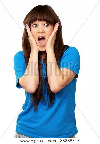 portrait of surprised woman isolated on white background