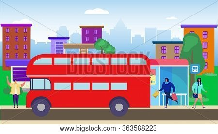 Bus Stop Residential Area Vector Illustration. Transportation Passengers In City. Woman With Purchas