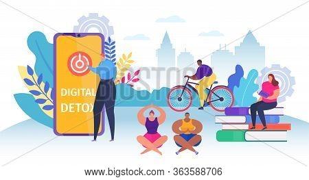Digital Detox Young People Group, Vector Illustration. Character Exit Smartphone, Offline Communicat