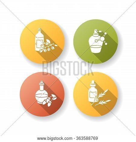 Hair Oils Flat Design Long Shadow Glyph Icons Set. Jojoba Essence For Healthy Nourishment. Keratin F
