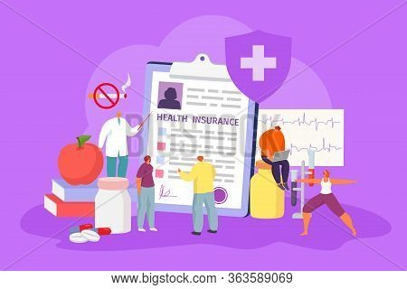 Filling Health Insurance Form Concept, Vector Illustration. Contractual Arrangement, Health Lifestyl