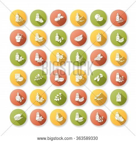 Hair Oils Flat Design Long Shadow Glyph Icons Set. Avocado Natural Essence. Exotic Baobab Extract Fo