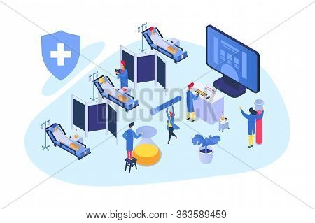 Medical Research Isometric, Vector Illustration. Hospital Teamwork With Patient, Healthcare Developm
