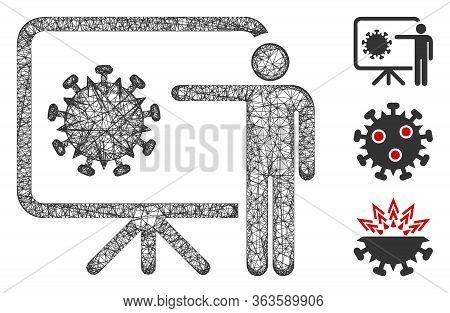 Mesh Coronavirus Lecture Polygonal Web 2d Vector Illustration. Model Is Based On Coronavirus Lecture