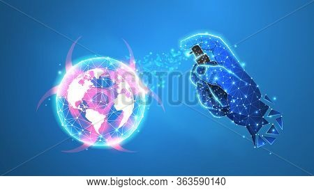 Abstract Planet Earth With Sanitazer In A Hand. Coronavirus Vaccine. World Covid Pandemic Prevention