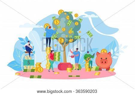 Money Tree, Company Income Vector Illustration. Successfull Start Up, Profitable New Business, Finan