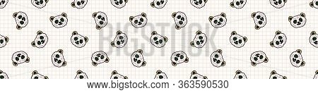 Kawaii Panda Bear Onigiri Japanese Rice Seamless Vector Border. Hand Drawn Oriental Seaweed Roll Ric