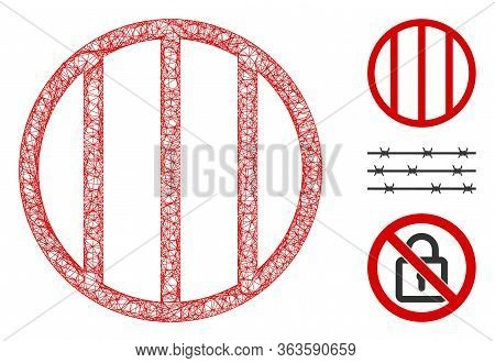 Mesh Jail Grid Polygonal Web Icon Vector Illustration. Model Is Based On Jail Grid Flat Icon. Triang