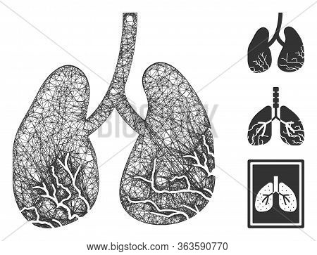 Mesh Lung Cancer Polygonal Web Symbol Vector Illustration. Carcass Model Is Based On Lung Cancer Fla