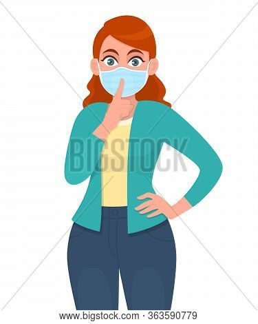 Young Girl Wearing Medical Mask And Showing Finger On Lips Gesture Sign. Woman Covering Face Protect