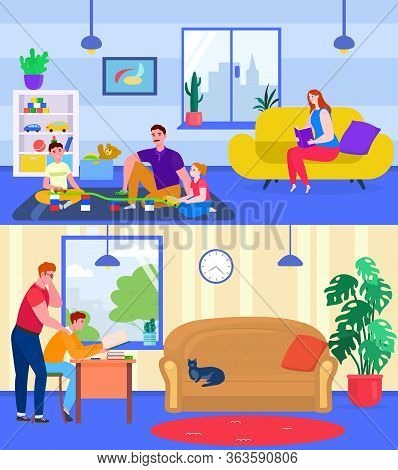 Parents Play And Study With Children, Vector Illustration. Family Spending Time Together At Home, Fa